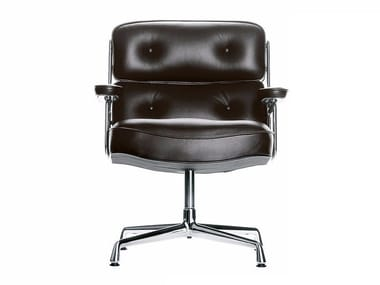 Swivel leather armchair with 4-spoke base LOBBY CHAIR ES 105