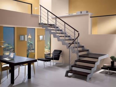 L Shaped Self Supporting Beech Open Staircase LOFT | L Shaped Open Staircase