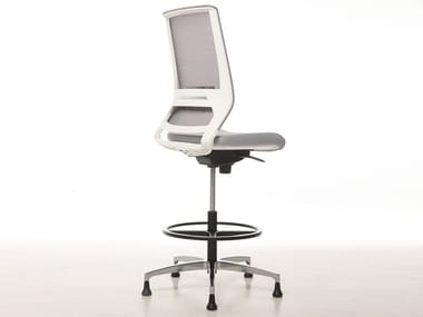 Office stool with 5-Spoke base with footrest LOGICA WHITE | Office stool