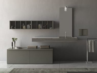 Sectional vanity unit with doors LOGICO - Composizione 1