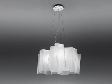 Direct light halogen blown glass pendant lamp LOGICO 3X120° | Pendant lamp