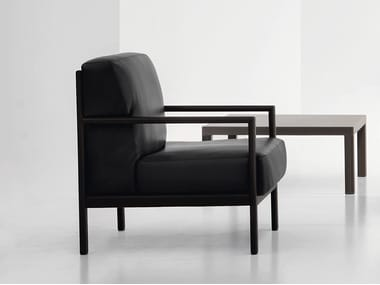 Leather armchair with armrests LONDON | Armchair