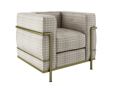 Upholstered wool armchair with armrests LONDON