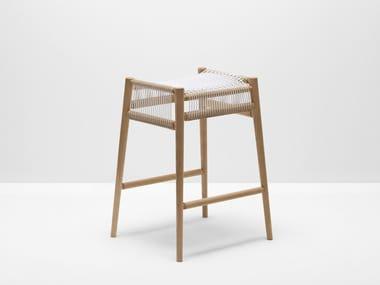 High Oak Barstool With Footrest LOOM | High Stool
