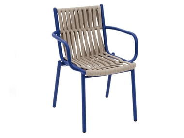 Rope garden chair with armrests LOOP