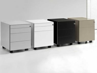 Metal office drawer unit with castors with lock LOOPY | Office drawer unit with castors