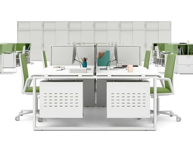 Postazione di lavoro con pannelli divisori con scaffale integrato LOOPY | Postazione di lavoro con pannelli divisori