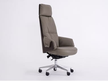 Cadeira executiva giratória de pele com apoio de cabeça LORD | Cadeira executiva