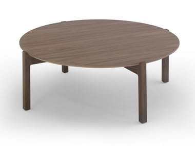 Round wood veneer coffee table LOTTA | Wood veneer coffee table