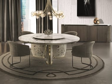 Round marble table with Lazy Susan LOTUS