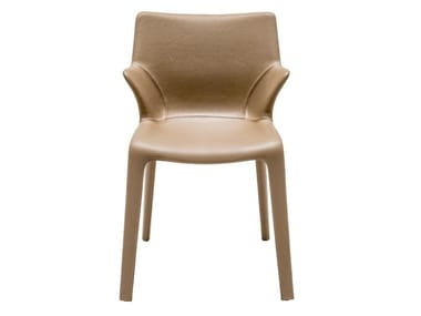 Leather chair with armrests LOU EAT | Chair with armrests