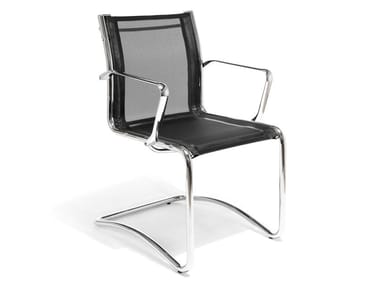 Cantilever mesh chair with armrests LOUISIANA NET | Cantilever chair