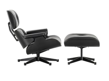 Poltrona girevole in pelle LOUNGE CHAIR & OTTOMAN BLACK VERSION