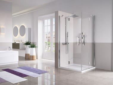 Corner shower cabin with hinged door LOUVRE A