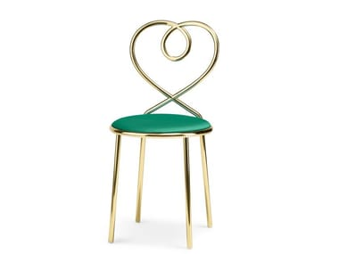 Upholstered brass chair LOVE