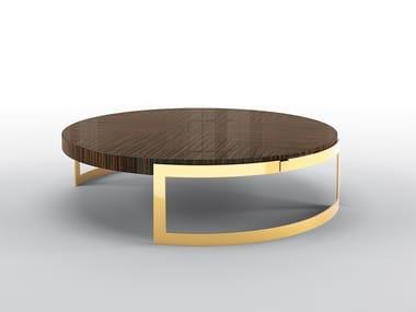 Mesa de centro baixa redonda de ébano OLIVER | Mesa de centro baixa