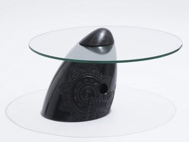 Low handmade tempered glass and granite coffee table TRANQUEBAR | Low coffee table