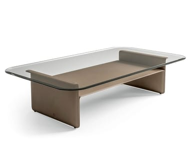 Low glass and tanned leather coffee table STARLIGHT | Low coffee table