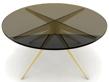 Round glass and steel coffee table for living room DEAN | Glass and steel coffee table
