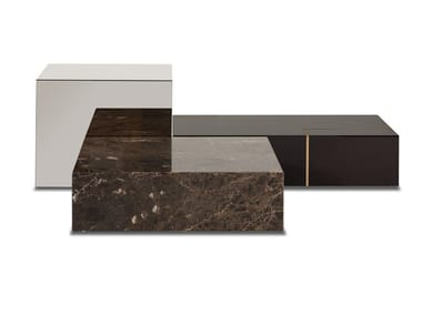 Low wooden, marble and glass coffee table FORTUNE | Low coffee table