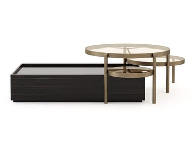 Low lacquered bronze and wooden coffee table HER | Low coffee table