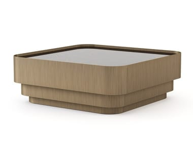 Low square wood veneer coffee table HIS | Low coffee table