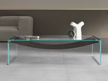 Low glass coffee table for living room AMACA | Low coffee table