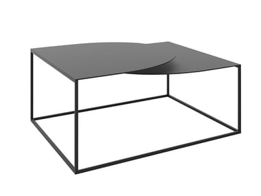 Low powder coated steel coffee table with integrated magazine rack GAP | Low coffee table