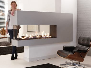 Gas 3-sided fireplace LUCIUS 140 R