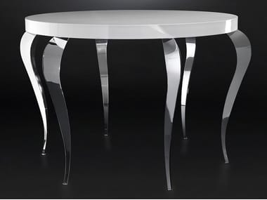 Lacquered round steel living room table LUIGI | High table