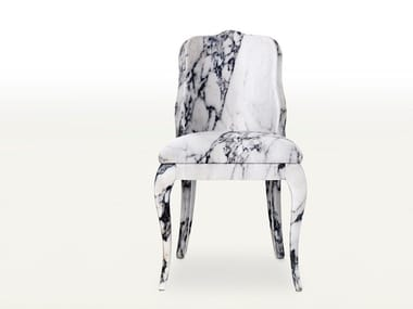 Upholstered fabric chair with integrated cushion LUIGINA