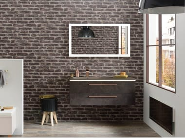 Single wall-mounted vanity unit with drawers LUMEN