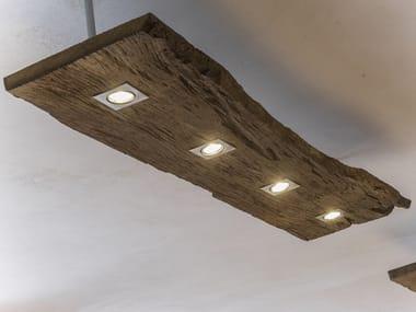 Lampada a sospensione a LED in legno di recupero LUMIERA