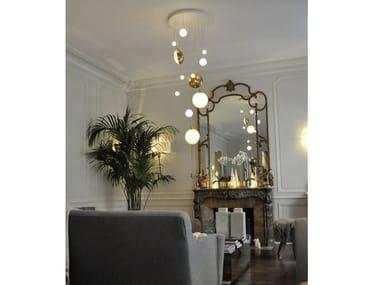 LED brass pendant lamp LUNE & SATELLITE