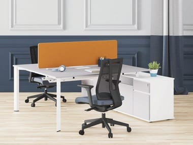 Multiple melamine office workstation with cable management LUTA | Office workstation