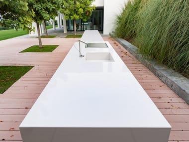 Top cucina da esterno in Lapitec® LUX - BIANCO POLARE
