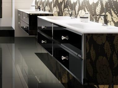 Mobile lavabo doppio in vetro con cassetti LUX | Mobile lavabo