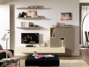 Sectional wall-mounted lacquered storage wall LV108 | Storage wall