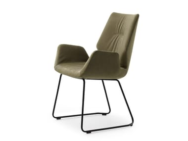 Sled base leather chair with armrests LXR02   Chair with armrests