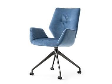 Swivel trestle-based fabric chair with armrests LXR02 | Swivel chair