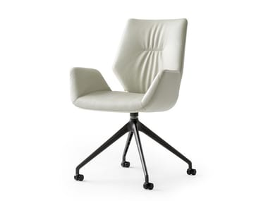Trestle-based leather chair with armrests LXR02 | Trestle-based chair