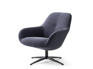 Swivel fabric armchair with 4-spoke base LXR03 | Armchair with 4-spoke base