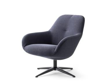 Swivel fabric armchair with 4-spoke base LXR03 | Armchair with 4-spoke base