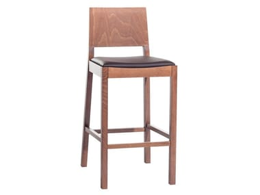 Multi-layer wood stool with integrated cushion LYON | Stool with integrated cushion