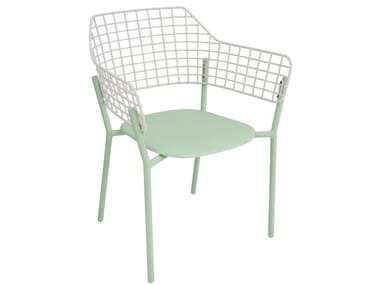 Stainless steel garden chair with armrests LYZE