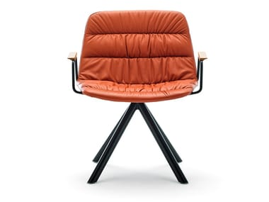 Swivel trestle-based easy chair with armrests MAARTEN | Easy chair with armrests