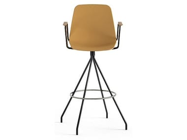 Swivel trestle-based polypropylene stool with armrests MAARTEN | Stool with armrests