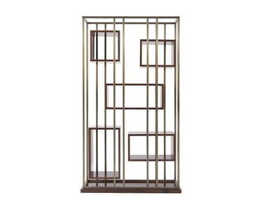 Wood veneer and brass bookcase MACKINTOSH