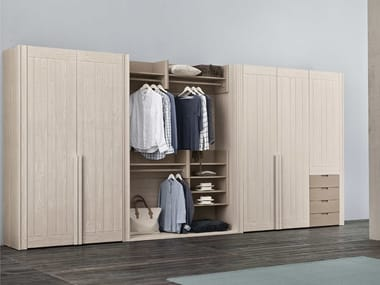 Sectional spruce wardrobe with drawers MAESTRALE | Sectional wardrobe
