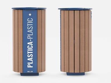 Wooden litter bin for waste sorting MIANE | Wooden litter bin